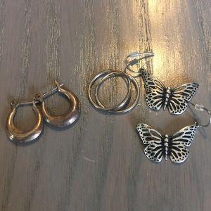 Lot of 3 pair silver earrings